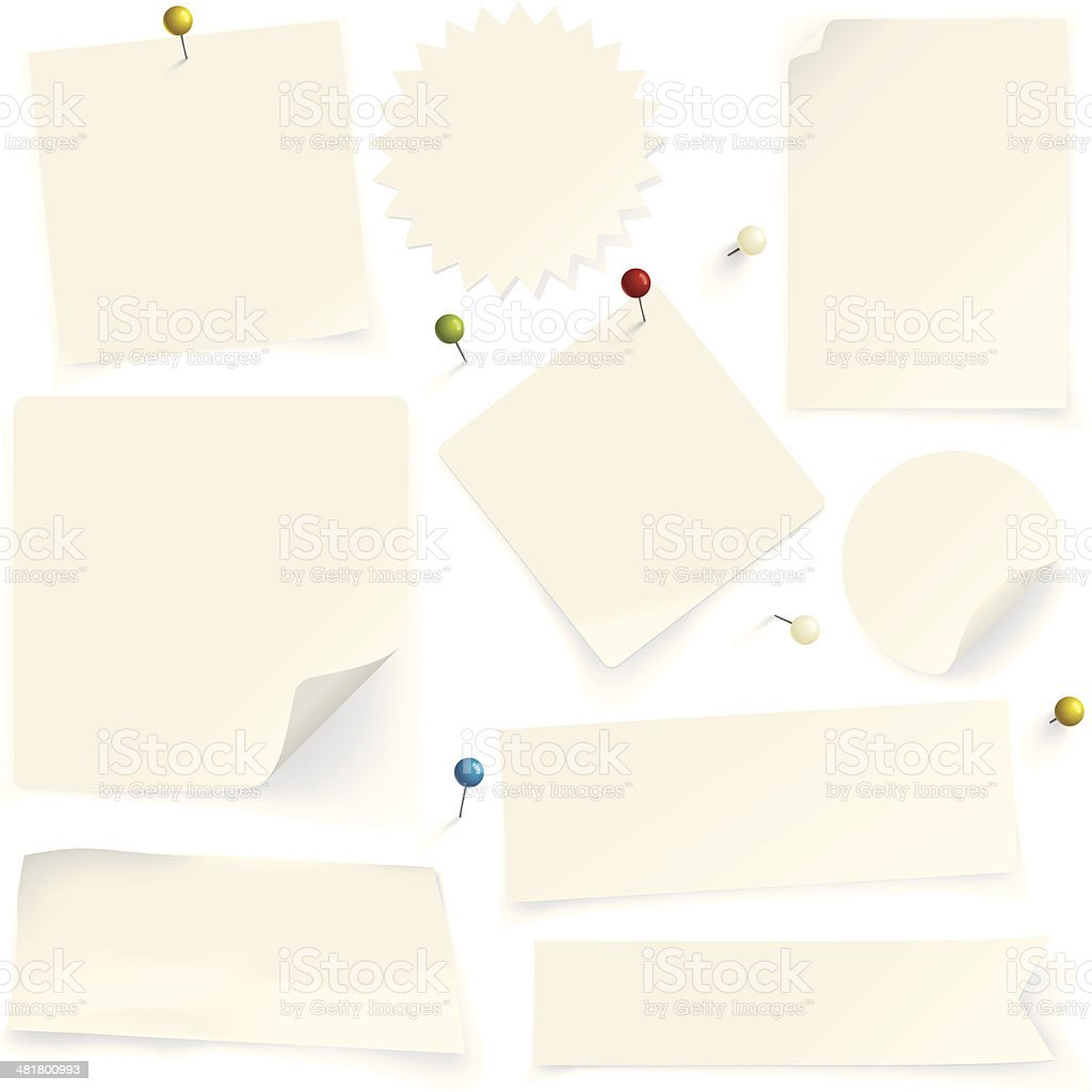 Paper notes with pins vector art illustration