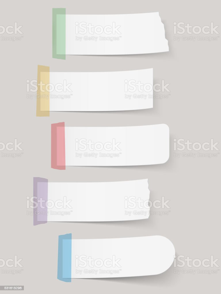 Paper Notes with Tape vector art illustration