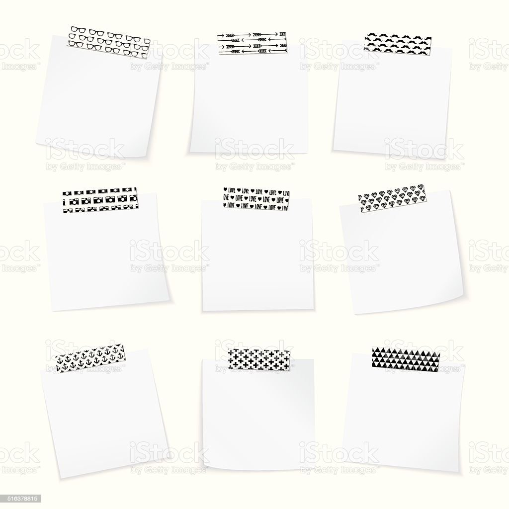 Paper notes with washi tape vector art illustration