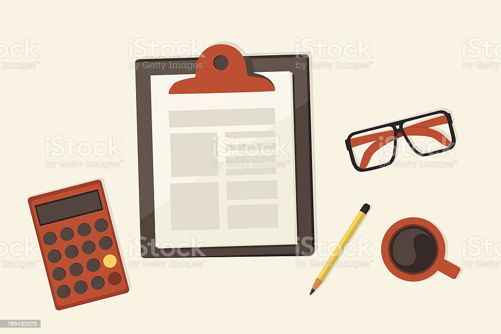 paper on clipboard - workspace royalty-free stock vector art