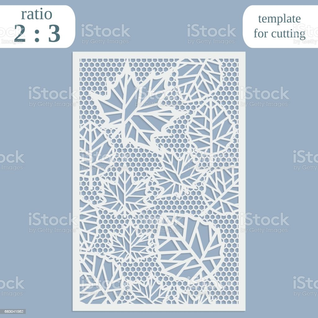 Paper openwork greeting card, template for cutting, maple leaves, lace invitation, lasercut metal panel, wood carving, vector illustration paper openwork greeting card template for cutting maple leaves lace invitation lasercut metal panel wood carving vector illustration - arte vetorial de stock e mais imagens de abstrato royalty-free