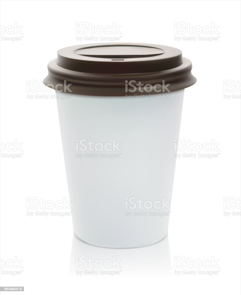 Paper or plastic glass with coffee. An isometric illustration with a shadow.3D style.Realistic element of design.Fast food.Vector illustration. royalty-free paper or plastic glass with coffee an isometric illustration with a shadow3d stylerealistic element of designfast foodvector illustration stock vector art & more images of blank