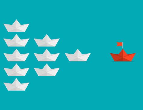 Paper origami boat orange leadership go to success goal. Vector illustration.
