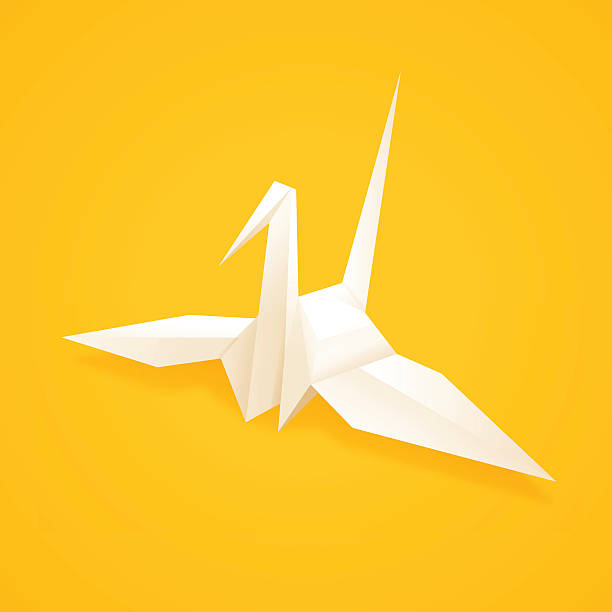 paper origami crane - crane bird stock illustrations