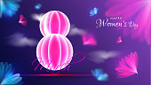 Paper origami of 8 march on blurred floral background. Happy Women's Day poster or banner design.