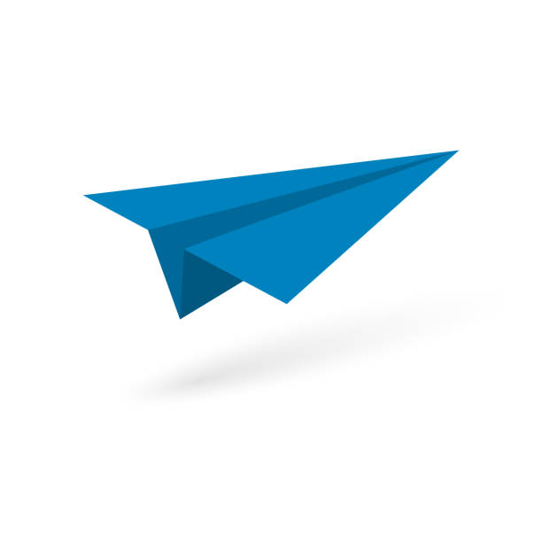 paper origami plane Blue paper origami plane on white background. Vector illustration paper airplane stock illustrations