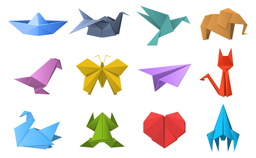 Paper origami shapes. Origami polygonal paper folding, pigeon, animals, plane and ship figures. Oriental origami hobby vector illustration set