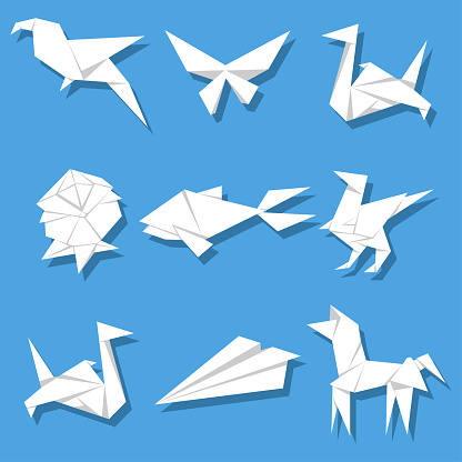 Paper origami vector cartoon set isolated on background.