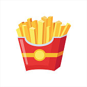 Paper Pack Of French Fries, Street Fast Food Cafe Menu Item Colorful Vector Icon