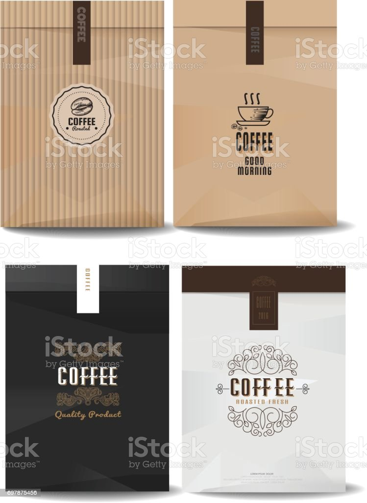 paper package design mock up template.cafe and restaurant packaging. coffee badge . vector template. vintage style. vector art illustration