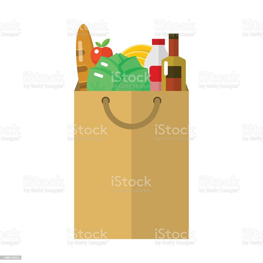 Paper package flat icon vector art illustration