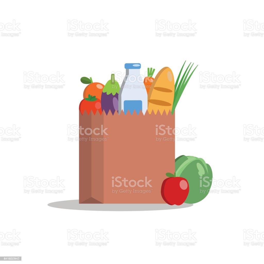 Paquete de papel con productos orgánicos frescos. Alimentos sanos de la granja. Ilustración de vector diseño plano - ilustración de arte vectorial