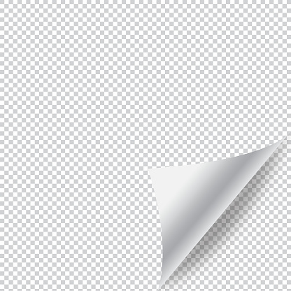 Paper Page Curl with Shadow and Transparent Background Vector Design.