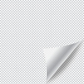 Paper Page Curl with Shadow and Transparent Background Vector Design. Vector Illustration EPS 10 File.