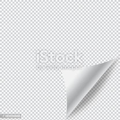 istock Paper Page Curl with Shadow and Transparent Background Vector Design. 1183555656