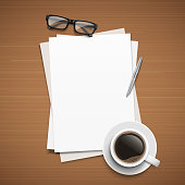 Paper, pencil, phone, glasses and coffee on the table. Top view desktop. Vector template for your design.