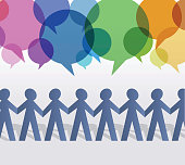 Paper People Chain and Speech Bubbles