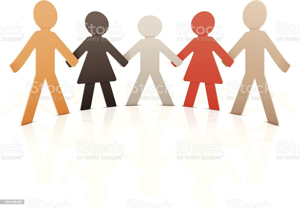 Paper people Vector illustration of paper people chain Doll stock vector