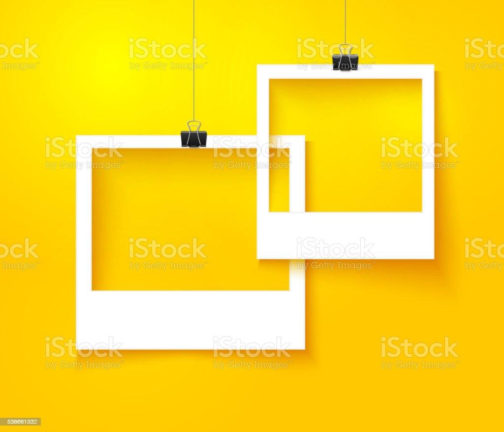 Papier cadres photo de la composition. Modèle de vectoriels avec fond orange vif - Illustration vectorielle