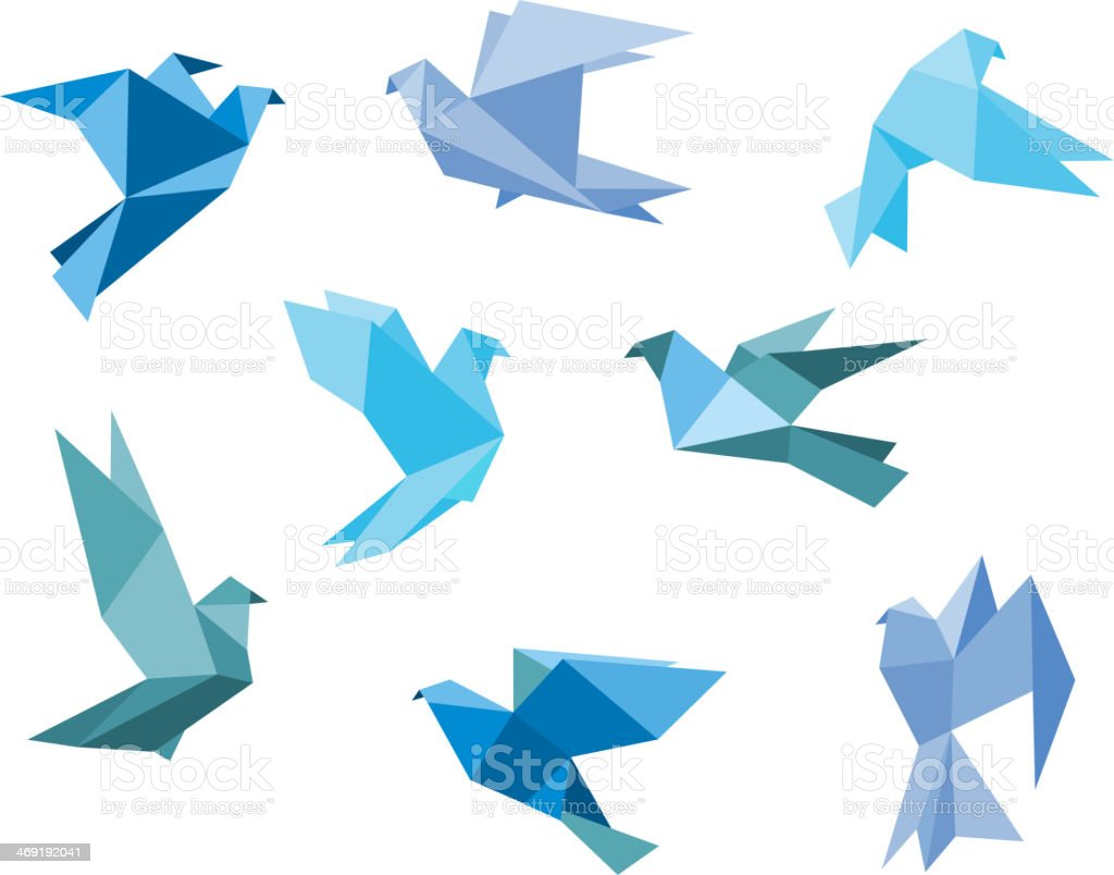 Paper pigeons and doves vector art illustration