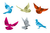 Paper pigeons, doves origami vector set