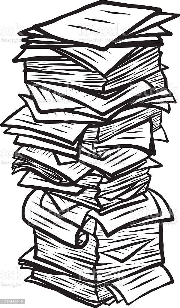 paper pile vector art illustration