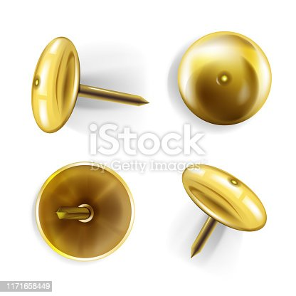 Paper pin vector illustration of 3D realistic golden or brass metal pins or thumbtack for memo notes on bulletin board or decorative nails on white background with shadow.