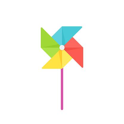 Paper pinwheel baby toy in flat design. Vector cartoon illustration.