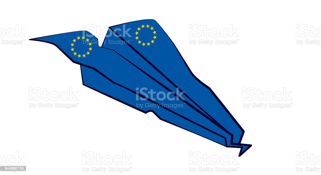 Eu Paper Plane Airplane Crash Stock Vector Art & More Images of ...