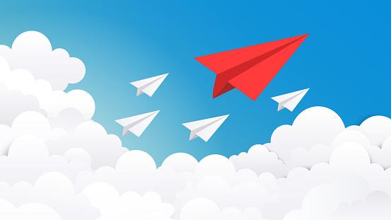 Paper plane background. Creative concept idea, business success and leader vision minimal illustration. Vector plane on blue sky