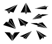 Paper plane. Black silhouette. Set of icons. Vector