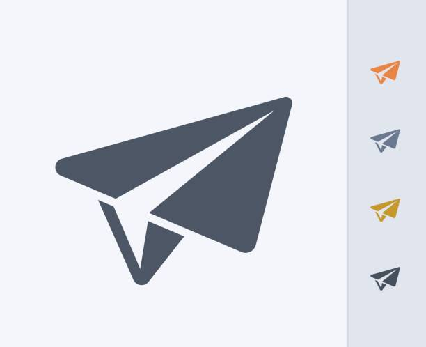 Paper Plane - Carbon Icons A professional, pixel-perfect icon designed on a 32x32 pixel grid and redesigned on a 16x16 pixel grid for very small sizes. paper airplane stock illustrations