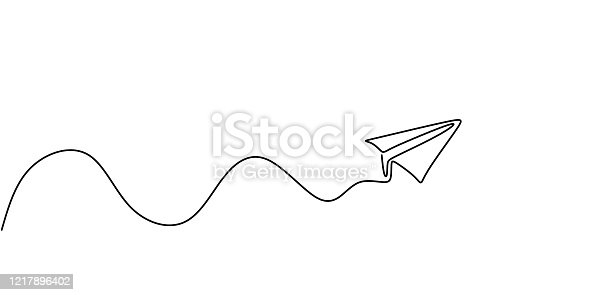 istock Paper plane continuous one line drawing, minimalism vector illustration. Symbol of creative and travel. 1217896402