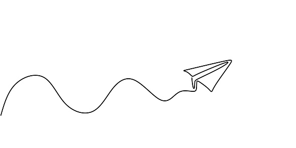 Paper plane continuous one line drawing, minimalism vector illustration. Symbol of creative and travel.