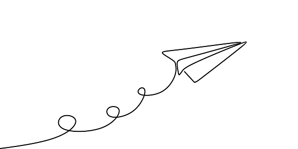 Paper plane continuous one line drawing vector illustration minimalist design isolated on white background.