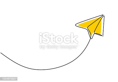 istock Paper plane, creative symbol. Continuous one line drawing, minimalist style. vector illustration concept of creativity. 1224570327