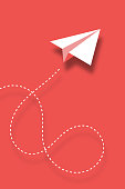 istock Paper plane design background 1127919668