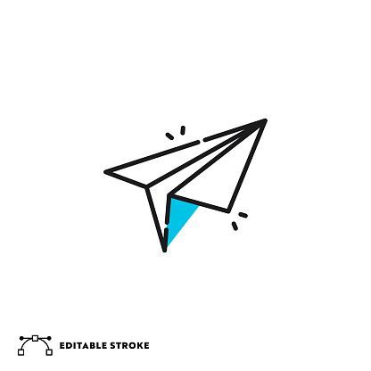 Paper Plane Flat Lineal Icon with Editable Stroke