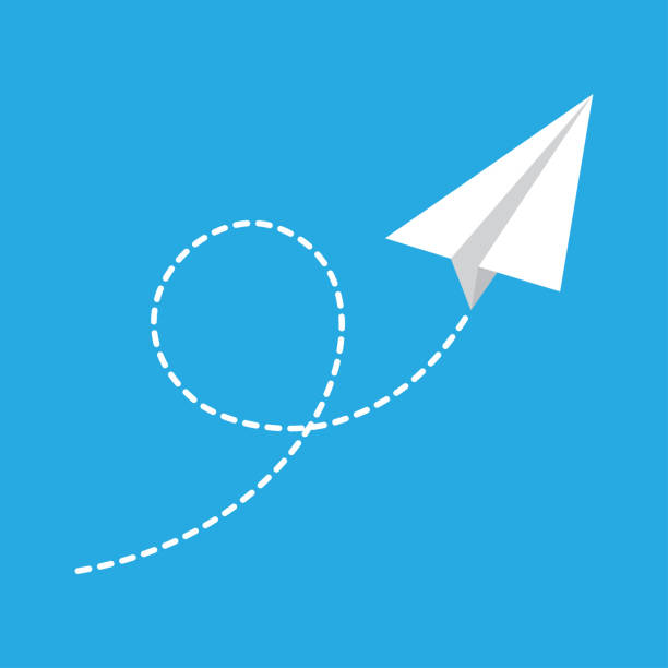 Paper plane flying Paper airplane with flying trail. Vector illustration paper airplane stock illustrations