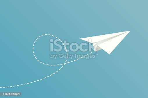 A white paper plane flying, with dotted route line on blue background.