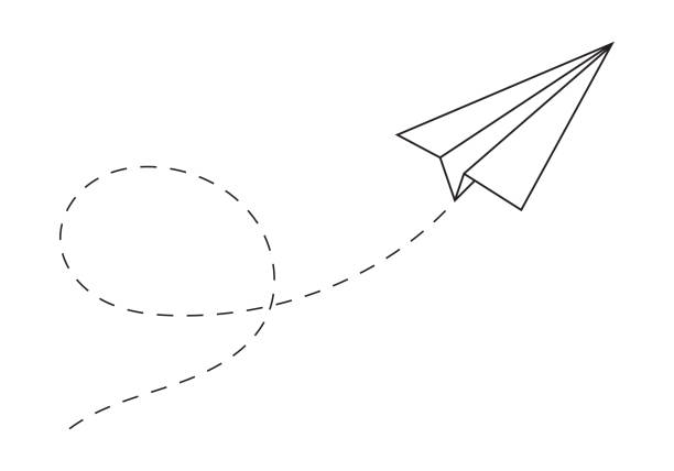 Paper plane following a path. Airplane track or route with dotted lines. Vector illustration. Paper plane following a path. Airplane track or route with dotted lines. Vector illustration. paper airplane stock illustrations