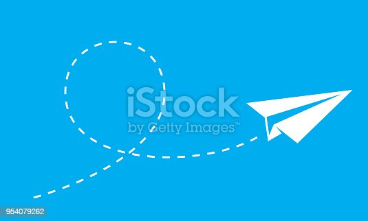 Vector illustration of a paper plane flying against a blue background.