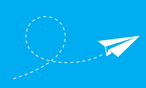 Paper Plane Glide Vector illustration of a paper plane flying against a blue background. paper airplane stock illustrations