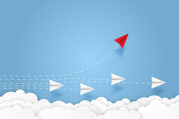 Paper plane go to success goal vector business financial concept start up, leadership, creative idea symbol paper art style with copy space for text. illustration Paper plane go to success goal vector business financial concept start up, leadership, creative idea symbol paper art style with copy space for text. illustration paper airplane stock illustrations