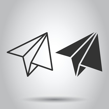Paper plane icon in flat style. Sent message vector illustration on white isolated background. Air sms business concept.