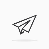 Paper plane icon in line style.