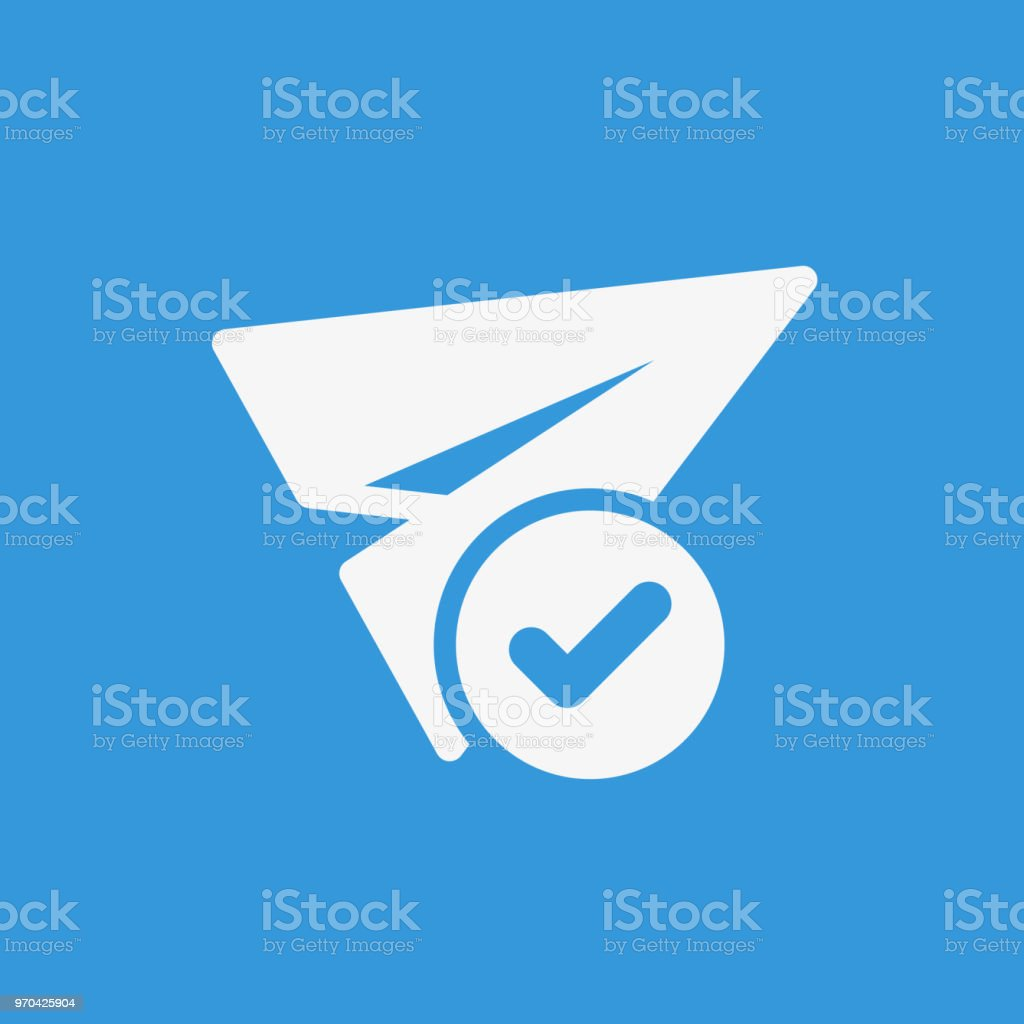 Paper plane icon, other icon with check sign. Paper plane icon and approved, confirm, done, tick, completed symbol vector art illustration