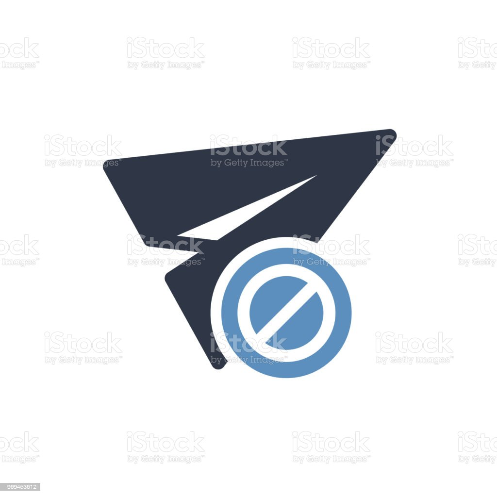 Paper plane icon, other icon with not allowed sign. Paper plane icon and block, forbidden, prohibit symbol vector art illustration
