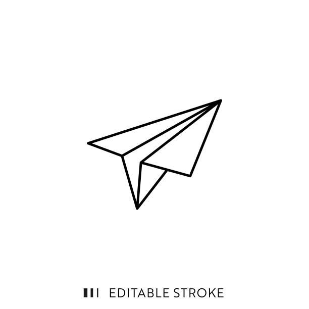 illustrazioni stock, clip art, cartoni animati e icone di tendenza di paper plane icon with editable stroke and pixel perfect. - newsletter