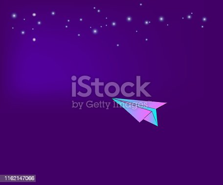 Paper plane in space at night, Illustration Vector.